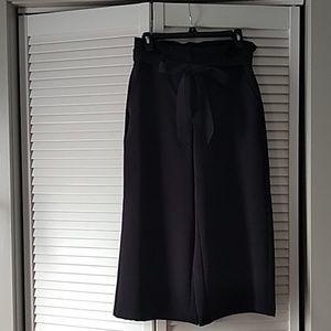 Wide leg cropped paper bag waist pants